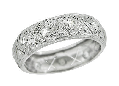 Art Deco Shelton Geometric Antique Diamond Wedding Band in Platinum - Size 5 1/2