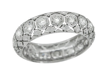 Art Deco Branford Antique Diamond Filigree Wedding Ring in Platinum - Size 6