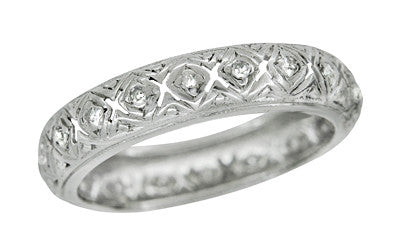 Litchfield Art Deco Vintage Platinum Filigree Diamond Wedding Ring - Size 5.75