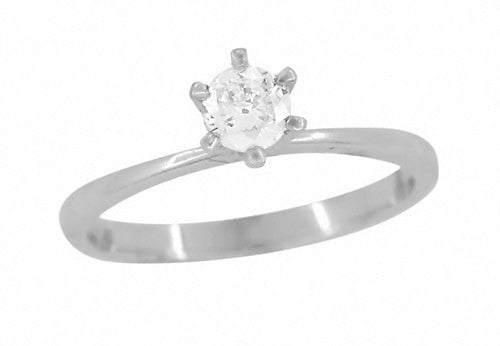 e5b86670408 Somersville 1960's Vintage 0.28 Carat Solitaire Old European Cut Diamond  High Setting Engagement Ring in 10K White Gold