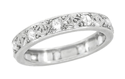 Art Deco Diamond Straightline Eternity Antique Wedding Band in Platinum - Size 6
