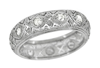art deco knollwood wide diamond antique wedding band in platinum size 6 - Antique Wedding Ring