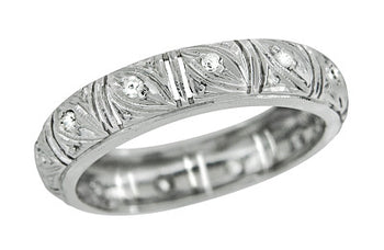 Art Deco Hamden Vintage Diamond Wedding Band in Platinum - Size 6