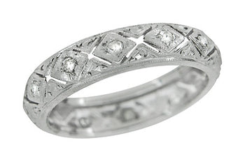 Art Deco Oakdale Diamond Antique Wedding Band in Platinum - Size 5 1/2