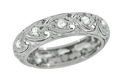 Forestville Art Deco Vintage Diamond Wedding Band in Platinum - Size 6