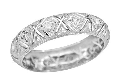 Hancock Art Deco Filigree Vintage Diamond Wedding Band in Platinum - Size 6 1/2