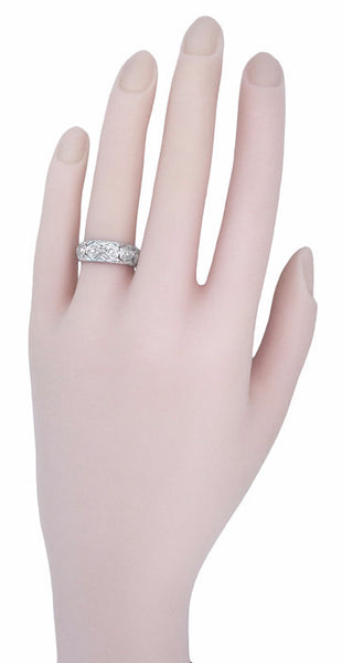 Art Deco Ardsley Honeycomb Filigree Engraved Antique Wide Diamond Wedding Ring in Platinum - Size 6.5 - Item: R1084 - Image: 1