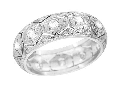 Art Deco Ardsley Honeycomb Filigree Engraved Antique Wide Diamond Wedding Ring in Platinum - Size 6.5