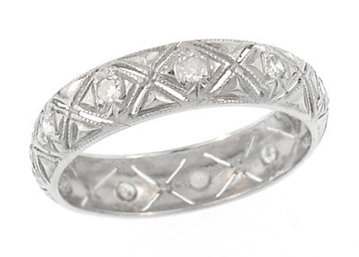 Glasgo Art Deco Diamond Estate Wedding Band - Platinum - Size 6 1/2