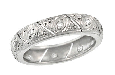 Art Deco Abington Antique Diamond Filigree Wedding Band in Platinum - Size 6 1/2