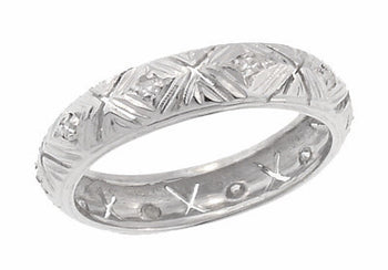 Deerfield Art Deco Antique Rose Cut Diamond Wedding Band in Platinum - Size 6 1/2