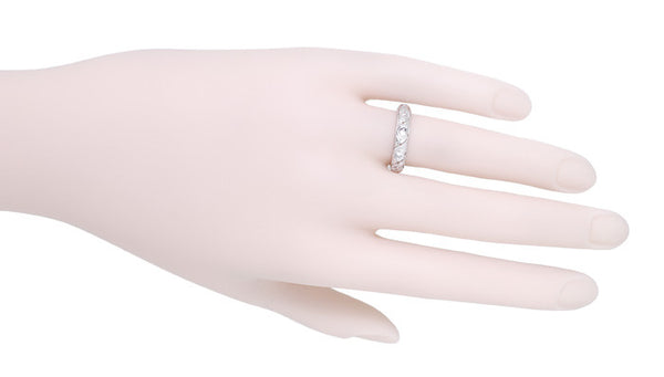 Salem Art Deco Vintage Scrolls Diamond Wedding Ring in Platinum - Size 6.5 - Item: R1089 - Image: 1