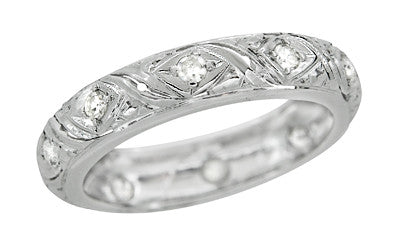 Salem Art Deco Vintage Scrolls Diamond Wedding Ring in Platinum - Size 6.5