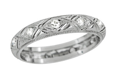 Groton Art Deco Diamond Antique Wedding Band in Platinum - Size 6 1/2