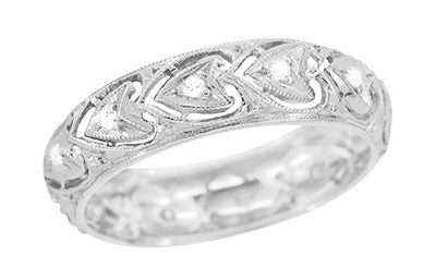 Edwardian Diamonds and Hearts Filigree Antique Wedding Band in Platinum - Size 6 1/2