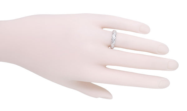 Art Deco Vintage Stepney Diamond Wedding Band in Platinum - Size 6 1/4 - Item: R1094 - Image: 1
