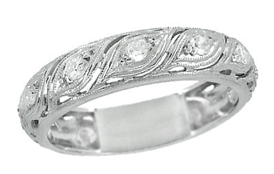 Art Deco Vintage Stepney Diamond Wedding Band in Platinum - Size 6 1/4