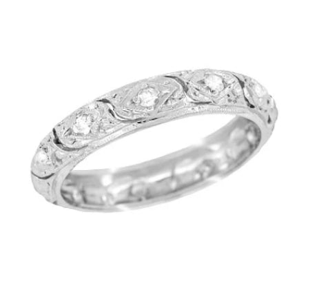 Art Deco Granby Antique Scrolls Platinum and Diamond Wedding Ring - Size 6 3/4