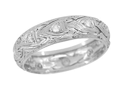 Edwardian Filigree Eternity Hearts Antique Diamond Wedding Band in Platinum - Size 7