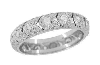 Art Deco Chevrons Filigree Vintage Diamond Wedding Band in Platinum - Size 7