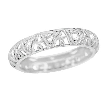 Art Deco Devon Antique Filigree Diamond Wedding Ring in Platinum - Size 6