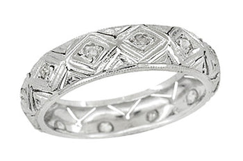 Brookfield Art Deco Antique Rose Cut Diamond Wedding Ring in Platinum - Size 6.5
