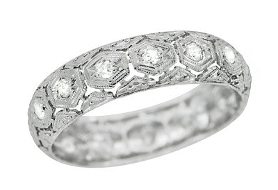 Derby Art Deco Diamond and Filigree Antique Wedding Band in Platinum - Size 6.75
