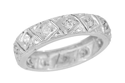 Riverton Antique Engraved Filigree Art Deco Diamond Wedding Band in Platinum - Size 6 3/4