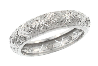 Art Deco Killingworth Diamond Antique Wedding Band in Platinum - Size 7 3/4