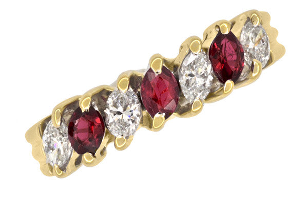 Marquise Ruby and Diamonds Estate Anniversary Band in 18 Karat Yellow Gold - Item: R1107 - Image: 2