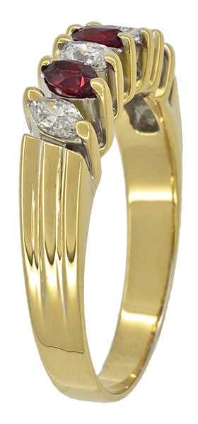Marquise Ruby and Diamonds Estate Anniversary Band in 18 Karat Yellow Gold - Item: R1107 - Image: 3