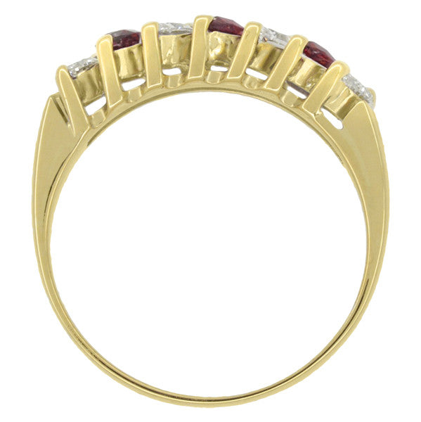 Marquise Ruby and Diamonds Estate Anniversary Band in 18 Karat Yellow Gold - Item: R1107 - Image: 4