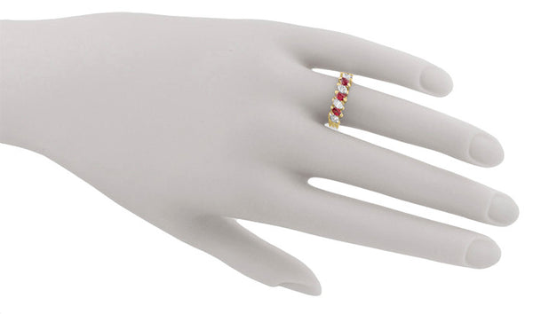 Marquise Ruby and Diamonds Estate Anniversary Band in 18 Karat Yellow Gold - Item: R1107 - Image: 5