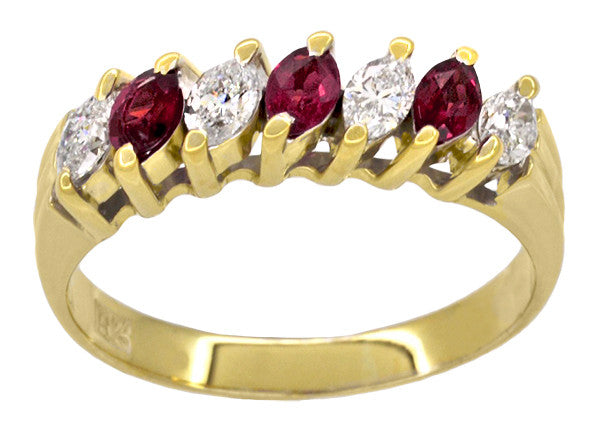 Marquise Ruby and Diamonds Estate Anniversary Band in 18 Karat Yellow Gold - Item: R1107 - Image: 1