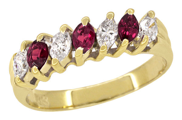 Marquise Ruby and Diamonds Estate Anniversary Band in 18 Karat Yellow Gold
