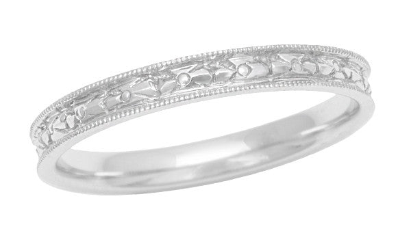 Edwardian Floral Carved Wedding Ring in 14 Karat White Gold