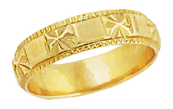 Stars and Bars Vintage Wedding Band in 22 Karat Gold - Size 4.75