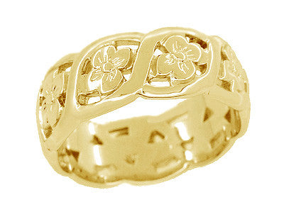 Scrolls and Pansy Flowers Mid Century Filigree Wedding Ring in 14K Yellow Gold - Item: R1114Y - Image: 1