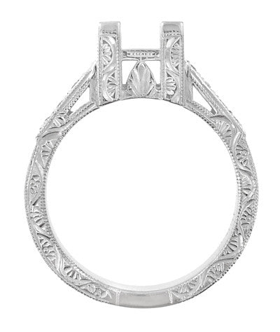 Flowers and Scrolls 3/4 Carat Princess Cut Diamond Art Deco Engagement Ring Mounting in 18 Karat White Gold - Item: R1117W75 - Image: 1