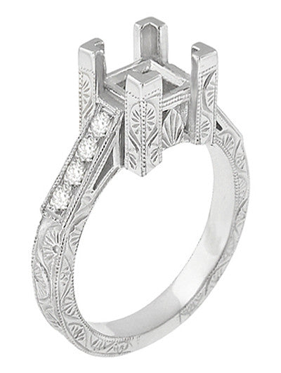 Flowers and Scrolls 3/4 Carat Princess Cut Diamond Art Deco Engagement Ring Mounting in 18 Karat White Gold