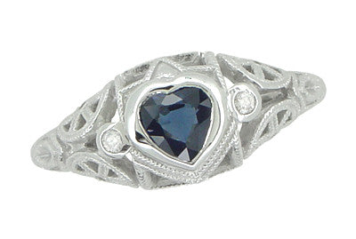 Art Deco Heart Sapphire and Diamond Filigree Ring in 14 Karat White Gold - Item: R1119 - Image: 2