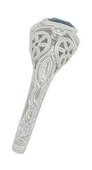 Art Deco Heart Sapphire and Diamond Filigree Ring in 14 Karat White Gold - Item: R1119 - Image: 3