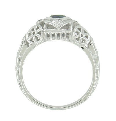 Art Deco Heart Sapphire and Diamond Filigree Ring in 14 Karat White Gold - Item: R1119 - Image: 4