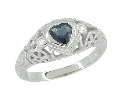 Art Deco Heart Sapphire and Diamond Filigree Ring in 14 Karat White Gold - Item: R1119 - Image: 5