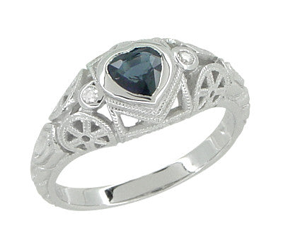 Art Deco Heart Sapphire and Diamond Filigree Ring in 14 Karat White Gold - Item: R1119 - Image: 1