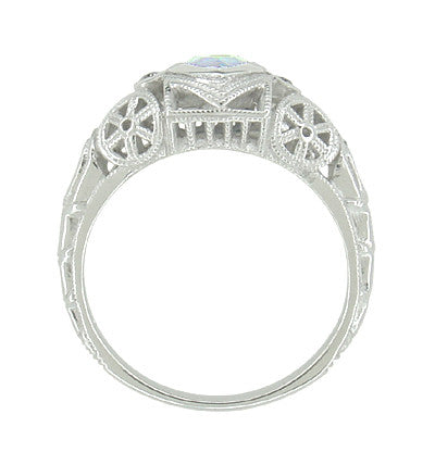 Art Deco Heart Blue Topaz and Diamond Filigree Ring in 14 Karat White Gold | Vintage Inspired - Item: R1119BT - Image: 3