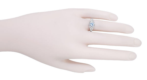 Art Deco Heart Blue Topaz and Diamond Filigree Ring in 14 Karat White Gold | Vintage Inspired - Item: R1119BT - Image: 4
