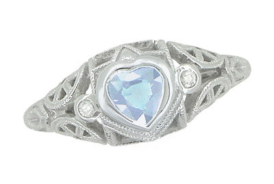 Art Deco Heart Blue Topaz and Diamond Filigree Ring in 14 Karat White Gold | Vintage Inspired - Item: R1119BT - Image: 1