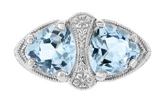 Art Deco Filigree Sky Blue Topaz Loving Duo Ring in Sterling Silver - Item: R1123 - Image: 2