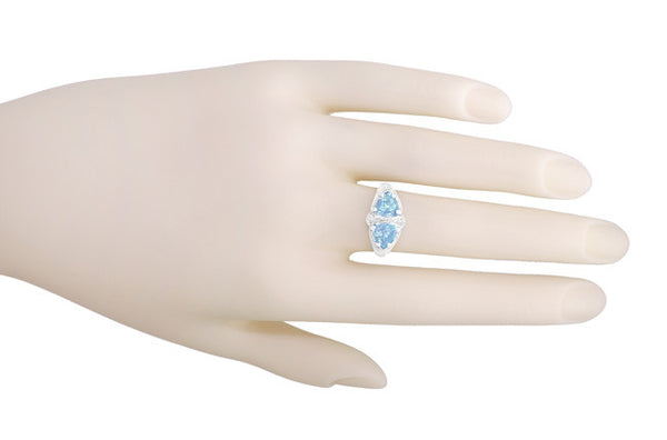 Art Deco Filigree Sky Blue Topaz Loving Duo Ring in Sterling Silver - Item: R1123 - Image: 3